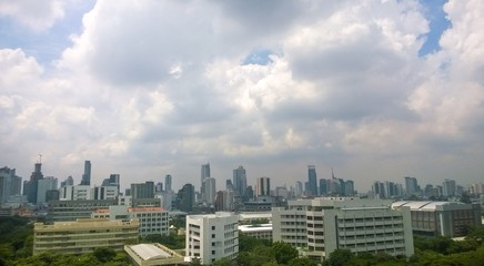 bangkok city under cloudy sky
