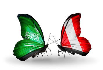 Two butterflies with flags Saudi Arabia and Peru