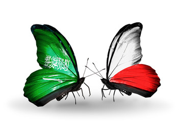 Two butterflies with flags Saudi Arabia and Poland