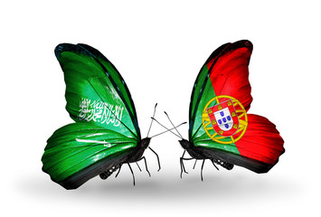 Two butterflies with flags Saudi Arabia and Portugal