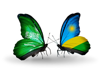 Two butterflies with flags Saudi Arabia and Rwanda