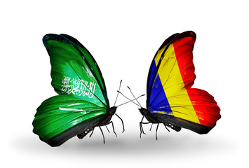 Two butterflies with flags Saudi Arabia and Chad, Romania