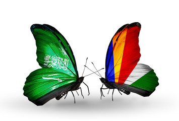 Two butterflies with flags Saudi Arabia and Seychelles