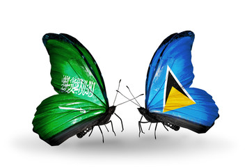 Two butterflies with flags Saudi Arabia and Saint Lucia
