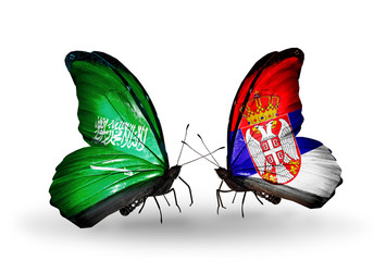 Two butterflies with flags Saudi Arabia and Serbia
