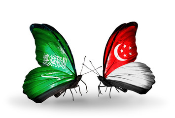Two butterflies with flags Saudi Arabia and Singapore