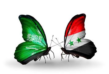 Two butterflies with flags Saudi Arabia and Syria