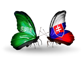 Two butterflies with flags Saudi Arabia and Slovakia