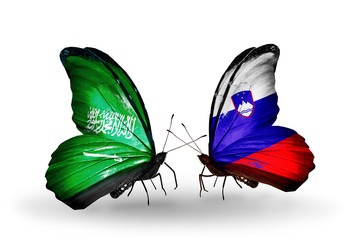 Two butterflies with flags Saudi Arabia and Slovenia