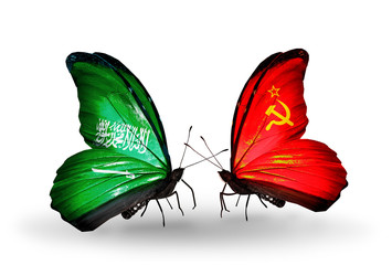 Two butterflies with flags Saudi Arabia and Soviet Union