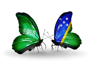 Two butterflies with flags Saudi Arabia and Solomon Islands