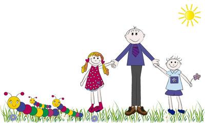 Niños felices con su padre y ciempiés.