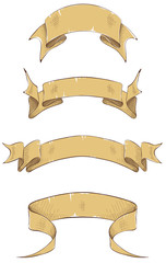 Ribbon banners, engraving. Vector illustration.