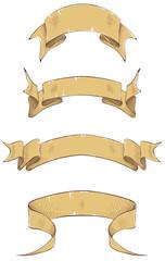 Ribbon banners, engraving. Vector illustration.