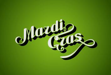 vector handwritten lettering Mardi Gras or Shrove Tuesday label