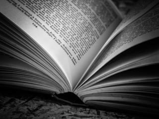 black and white  Open book