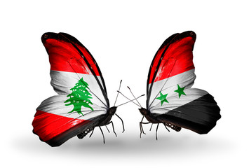 Two butterflies with flags Lebanon and Syria