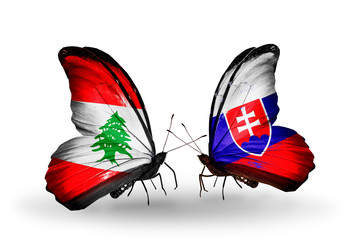 Two butterflies with flags Lebanon and Slovakia