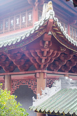 chinese old wooden house roof and structure