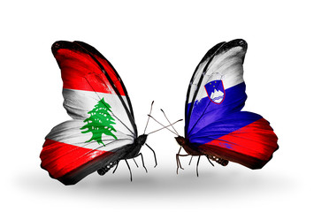 Two butterflies with flags Lebanon and Slovenia