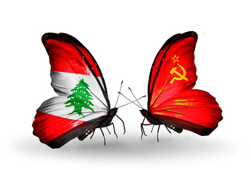Two butterflies with flags Lebanon and Soviet Union