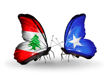 Two butterflies with flags Lebanon and Somalia