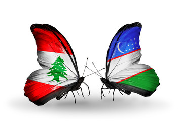 Two butterflies with flags Lebanon and Uzbekistan