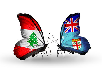 Two butterflies with flags Lebanon and Fiji