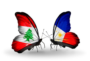 Two butterflies with flags Lebanon and Philippines