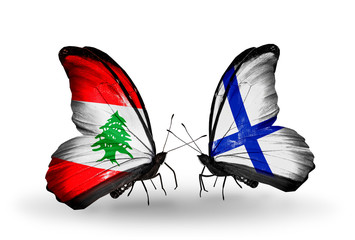 Two butterflies with flags Lebanon and Finland