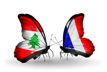 Two butterflies with flags Lebanon and France