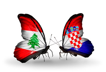 Two butterflies with flags Lebanon and Croatia