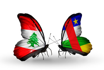 Two butterflies with flags Lebanon and Central African Republic