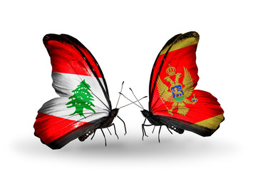 Two butterflies with flags Lebanon and Montenegro