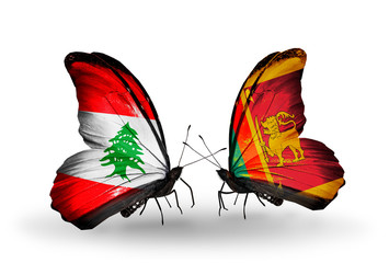Two butterflies with flags Lebanon and Sri Lanka