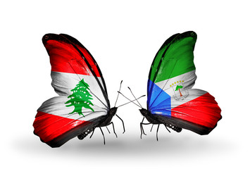 Two butterflies with flags Lebanon and Equatorial Guinea