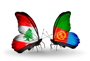 Two butterflies with flags Lebanon and Eritrea