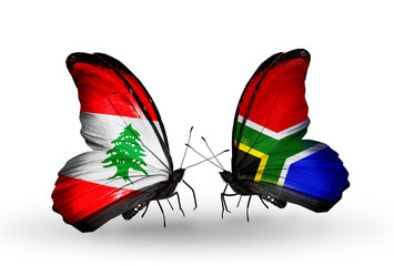 Two butterflies with flags Lebanon and South Africa