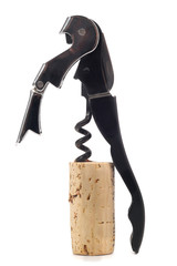 corkscrew with a cork on a white background