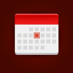 Calendar icon on dark background.
