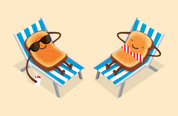 toasts glasses lying on a sun lounger with a drink