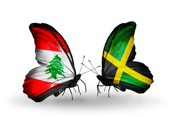 Two butterflies with flags Lebanon and  Jamaica