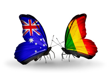 Two butterflies with flags Australia and Mali