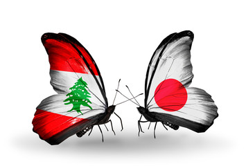 Two butterflies with flags Lebanon and Japan
