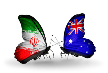 Two butterflies with flags Iran and Australia