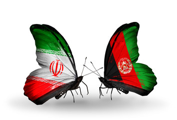 Two butterflies with flags Iran and Afghanistan