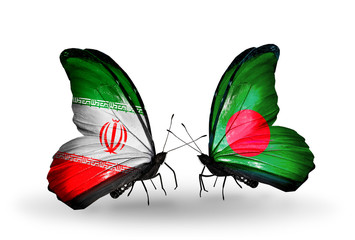 Two butterflies with flags Iran and Bangladesh