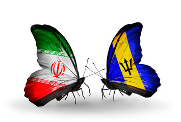 Two butterflies with flags Iran and Barbados