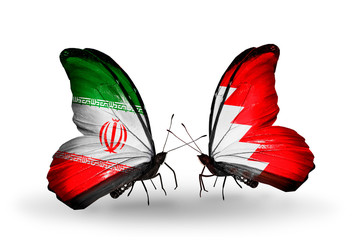 Two butterflies with flags Iran and Bahrain