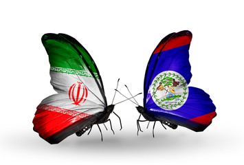 Two butterflies with flags Iran and  Belize
